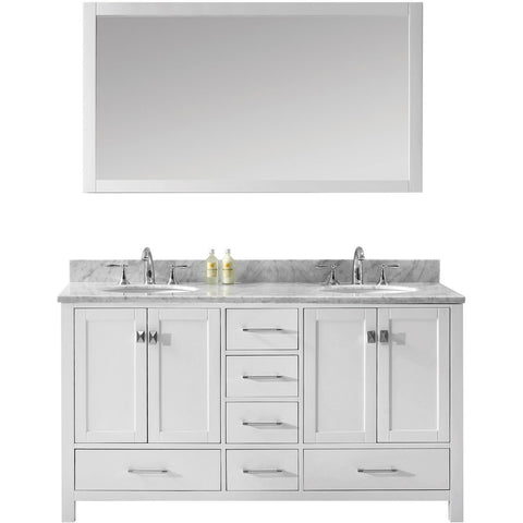 "Virtu USA Caroline Avenue 60"" White Double Bathroom Vanity Set with Marble Top - GD-50060-WM - Bath Vanity Plus"