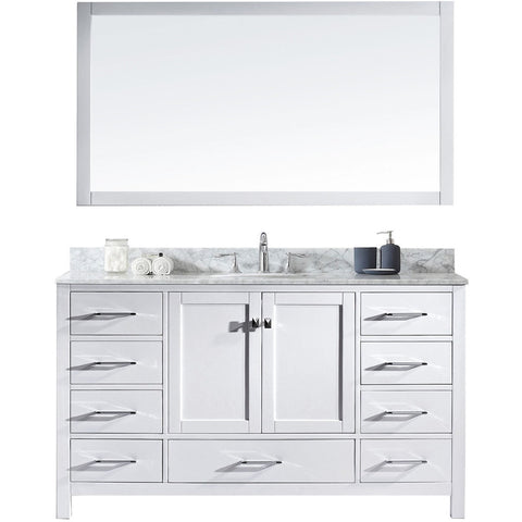 "Virtu USA Caroline Avenue 60"" White Single Bathroom Vanity Set with Marble Top - GD-50060-WM - Bath Vanity Plus"