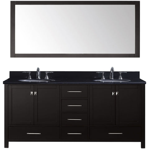 "Virtu USA Caroline Avenue 72"" Espresso Double Bathroom Vanity Set with Granite Top - GD-50072-BG - Bath Vanity Plus"