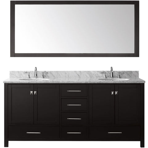 "Virtu USA Caroline Avenue 72"" Espresso Double Bathroom Vanity Set with Marble Top - GD-50072-WM - Bath Vanity Plus"