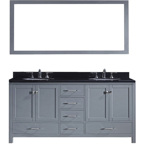 "Virtu USA Caroline Avenue 72"" Gray Double Bathroom Vanity Set with Granite Top - GD-50072-BG - Bath Vanity Plus"