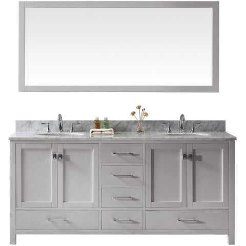 "Virtu USA Caroline Avenue 72"" Gray Double Bathroom Vanity Set with Marble Top - GD-50072-WM - Bath Vanity Plus"