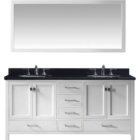 "Virtu USA Caroline Avenue 72"" White Double Bathroom Vanity Set with Granite Top - GD-50072-BG - Bath Vanity Plus"