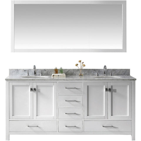 "Virtu USA Caroline Avenue 72"" White Double Bathroom Vanity Set with Marble Top - GD-50072-WM - Bath Vanity Plus"