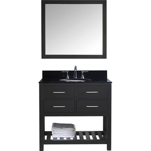 "Virtu USA Caroline Estate 36"" Espresso Single Bathroom Vanity Set with Granite Top - MS-2236-BG-ES - Bath Vanity Plus"