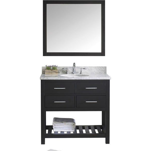 "Virtu USA Caroline Estate 36"" Espresso Single Bathroom Vanity Set with Marble Top - MS-2236-WM-ES - Bath Vanity Plus"