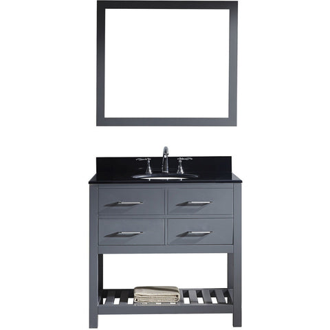 "Virtu USA Caroline Estate 36"" Gray Single Bathroom Vanity Set with Granite Top - MS-2236-BG-GR - Bath Vanity Plus"