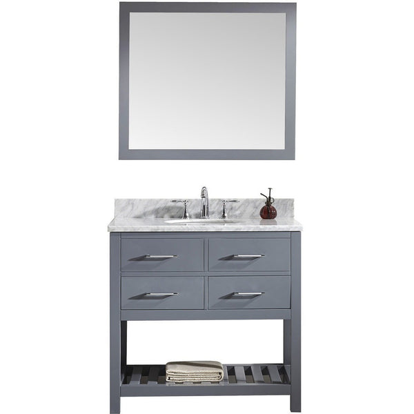 "Virtu USA Caroline Estate 36"" Gray Single Bathroom Vanity Set with Marble Top - MS-2236-WM-GR - Bath Vanity Plus"
