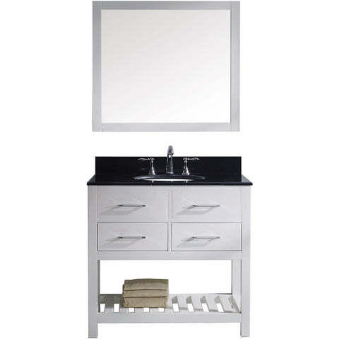 "Virtu USA Caroline Estate 36"" White Single Bathroom Vanity Set with Granite Top - MS-2236-BG-WH - Bath Vanity Plus"