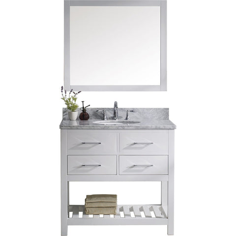 "Virtu USA Caroline Estate 36"" White Single Bathroom Vanity Set with Marble Top - MS-2236-WM-WH - Bath Vanity Plus"