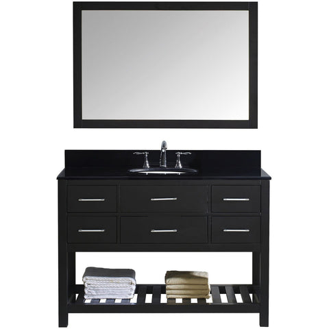"Virtu USA Caroline Estate 48"" Espresso Single Bathroom Vanity Set with Granite Top - MS-2248-BG-ES - Bath Vanity Plus"