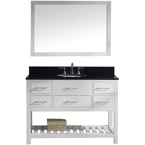 "Virtu USA Caroline Estate 48"" White Single Bathroom Vanity Set with Granite Top - MS-2248-BG-WH - Bath Vanity Plus"