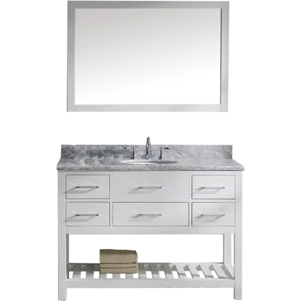 "Virtu USA Caroline Estate 48"" White Single Bathroom Vanity Set with Marble Top - MS-2248-WM-WH - Bath Vanity Plus"