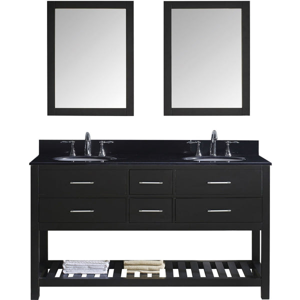 "Virtu USA Caroline Estate 60"" Espresso Double Bathroom Vanity Set with Granite Top - MD-2260-BG-ES - Bath Vanity Plus"