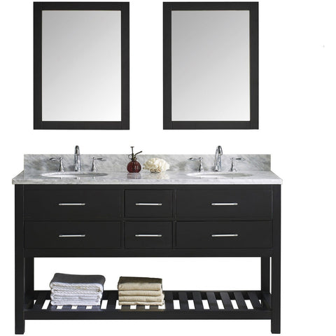 "Virtu USA Caroline Estate 60"" Espresso Double Bathroom Vanity Set with Marble Top - MD-2260-WM-ES - Bath Vanity Plus"