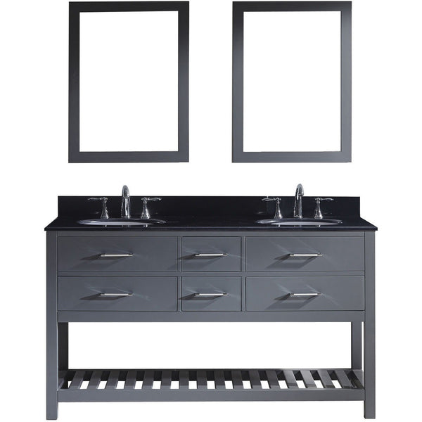 "Virtu USA Caroline Estate 60"" Gray Double Bathroom Vanity Set with Granite Top - MD-2260-BG-GR - Bath Vanity Plus"