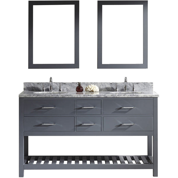 "Virtu USA Caroline Estate 60"" Gray Double Bathroom Vanity Set with Marble Top - MD-2260-WM-GR - Bath Vanity Plus"