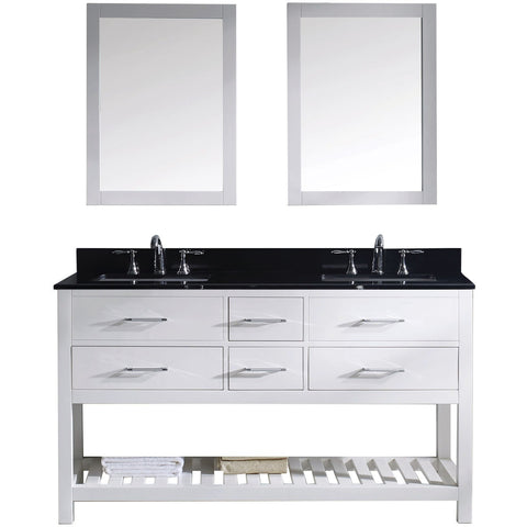 "Virtu USA Caroline Estate 60"" White Double Bathroom Vanity Set with Granite Top - MD-2260-BG-WH - Bath Vanity Plus"