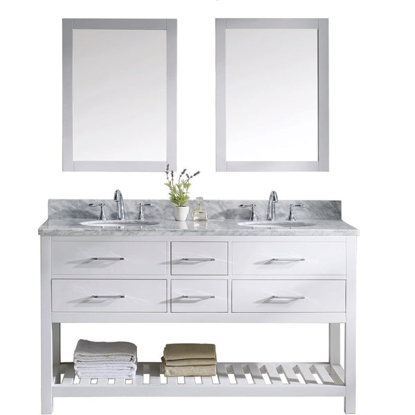 "Virtu USA Caroline Estate 60"" White Double Bathroom Vanity Set with Marble Top - MD-2260-WMRO-WH - Bath Vanity Plus"