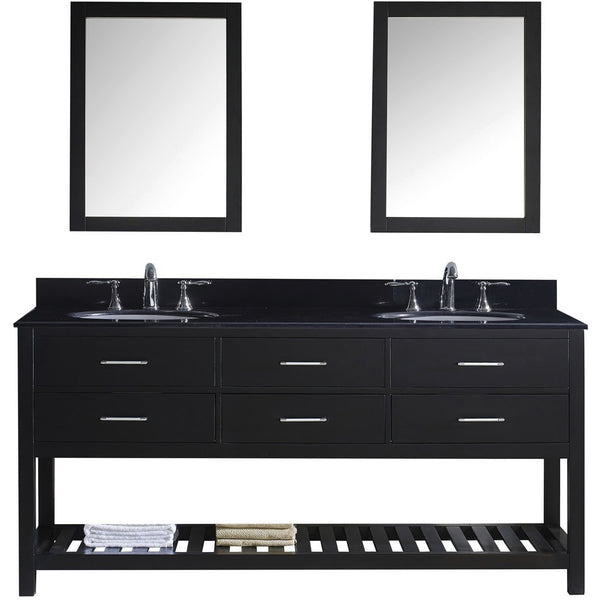 "Virtu USA Caroline Estate 72"" Espresso Double Bathroom Vanity Set with Granite Top - MD-2272-BG-ES - Bath Vanity Plus"