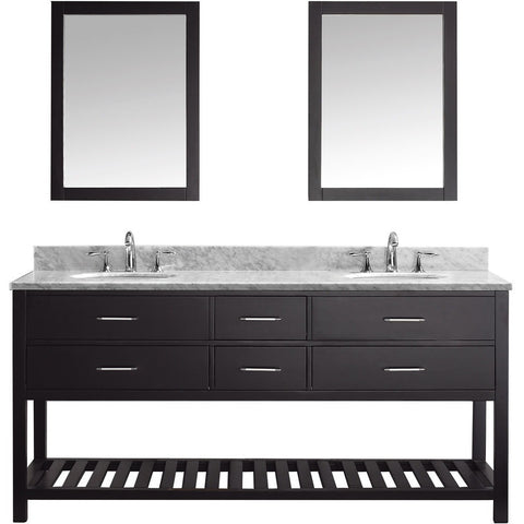 "Virtu USA Caroline Estate 72"" Espresso Double Bathroom Vanity Set with Marble Top - MD-2272-WM-ES - Bath Vanity Plus"