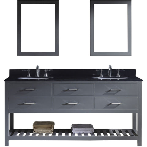 "Virtu USA Caroline Estate 72"" Gray Double Bathroom Vanity Set with Granite Top - MD-2272-BGRO-GR - Bath Vanity Plus"