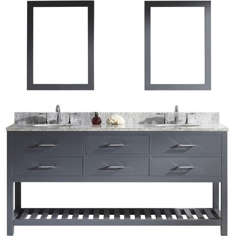 "Virtu USA Caroline Estate 72"" Gray Double Bathroom Vanity Set with Marble Top - MD-2272-WM-GR - Bath Vanity Plus"