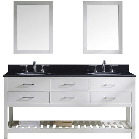 "Virtu USA Caroline Estate 72"" White Double Bathroom Vanity Set with Granite Top - MD-2272-BG-WH - Bath Vanity Plus"