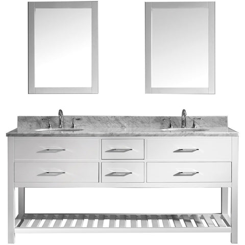 "Virtu USA Caroline Estate 72"" White Double Bathroom Vanity Set with Marble Top - MD-2272-WM-WH - Bath Vanity Plus"