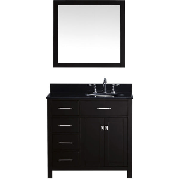 "Virtu USA Caroline Parkway 36"" Espresso Single Bathroom Vanity Set (Left or Right Side Drawers) - MS-2136-BG - Bath Vanity Plus"