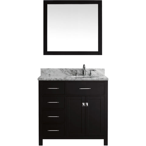 "Virtu USA Caroline Parkway 36"" Espresso Single Bathroom Vanity Set (Left or Right Side Drawers) - MS-2136-WM - Bath Vanity Plus"