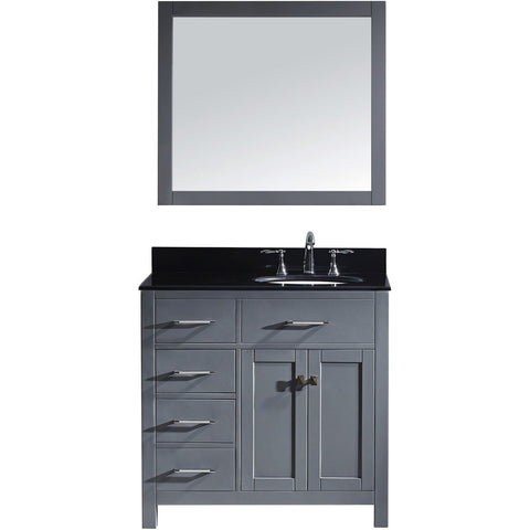 "Virtu USA Caroline Parkway 36"" Gray Single Bathroom Vanity Set (Left or Right Side Drawers) - MS-2136-BG - Bath Vanity Plus"