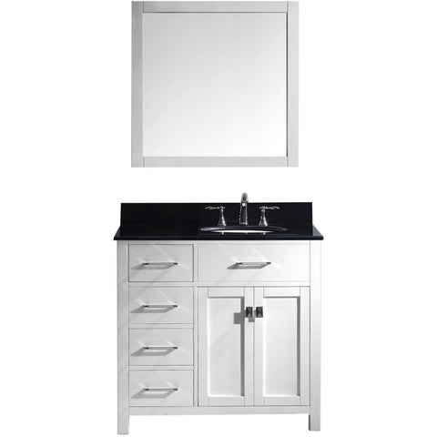 "Virtu USA Caroline Parkway 36"" White Single Bathroom Vanity Set (Left or Right Side Drawers) - MS-2136-BG - Bath Vanity Plus"