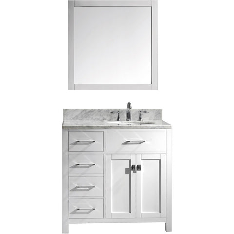 "Virtu USA Caroline Parkway 36"" White Single Bathroom Vanity Set (Left or Right Side Drawers) - MS-2136-WM - Bath Vanity Plus"