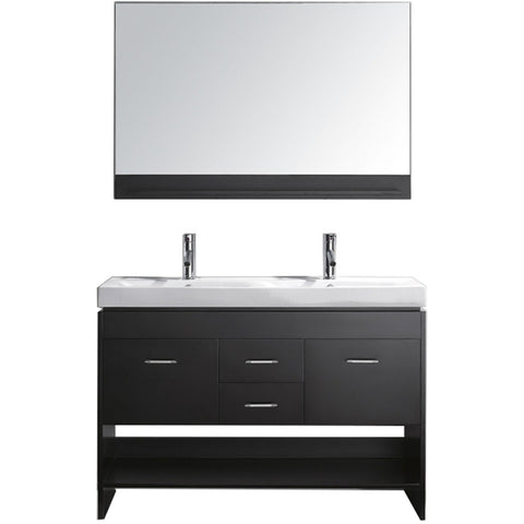 "Virtu USA Gloria 48"" Espresso Double Bathroom Vanity Set - MD-423-ES - Bath Vanity Plus"