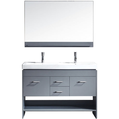 "Virtu USA Gloria 48"" Gray Double Bathroom Vanity Set - MD-423-GR - Bath Vanity Plus"