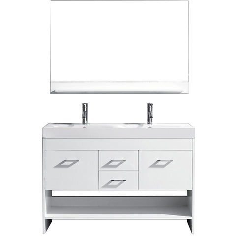 "Virtu USA Gloria 48"" White Double Bathroom Vanity Set - MD-423-WH - Bath Vanity Plus"