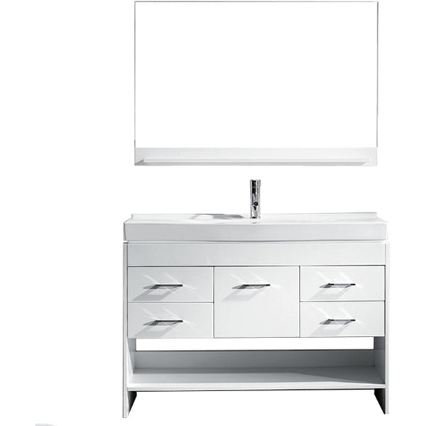 "Virtu USA Gloria 48"" White Single Bathroom Vanity Set - MS-575-C-WH - Bath Vanity Plus"