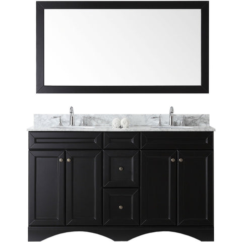"Virtu USA Talisa 60"" Espresso Double Bathroom Vanity Set - ED-25060-WM-ES - Bath Vanity Plus"