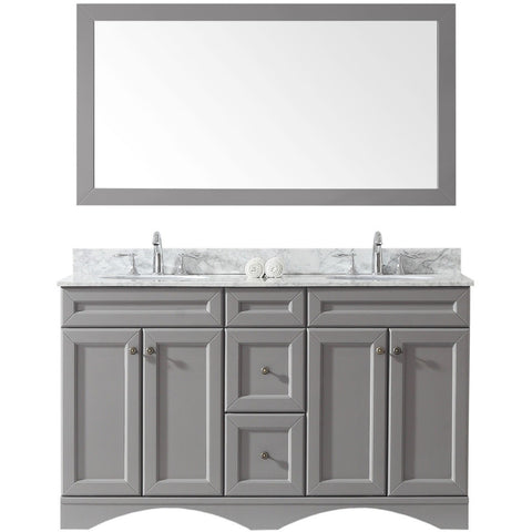 "Virtu USA Talisa 60"" Gray Double Bathroom Vanity Set - ED-25060-WM-GR - Bath Vanity Plus"