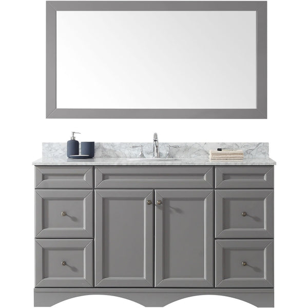 "Virtu USA Talisa 60"" Gray Single Bathroom Vanity Set - ES-25060-WM-GR - Bath Vanity Plus"