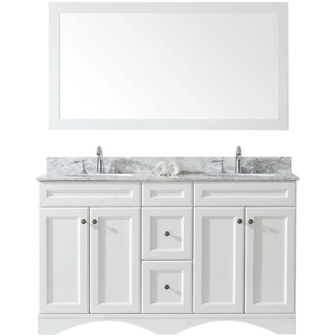 "Virtu USA Talisa 60"" White Double Bathroom Vanity Set - ED-25060-WM-WH - Bath Vanity Plus"