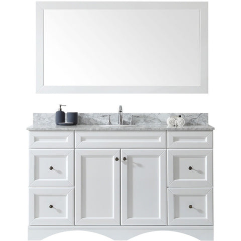 "Virtu USA Talisa 60"" White Single Bathroom Vanity Set - ES-25060-WM-WH - Bath Vanity Plus"