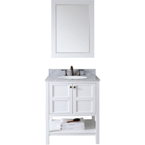 "Virtu USA Winterfell 30"" White Single Bathroom Vanity Set - ES-30030-WM-WH - Bath Vanity Plus"