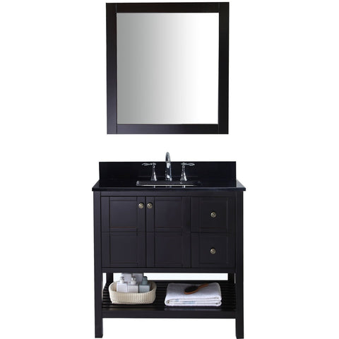 "Virtu USA Winterfell 36"" Espresso Single Bathroom Vanity Set with Granite Top - ES-30036-BGSQ-ES - Bath Vanity Plus"