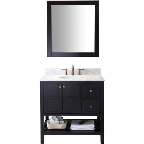 "Virtu USA Winterfell 36"" Espresso Single Bathroom Vanity Set with Marble Top - ES-30036-WM-ES - Bath Vanity Plus"