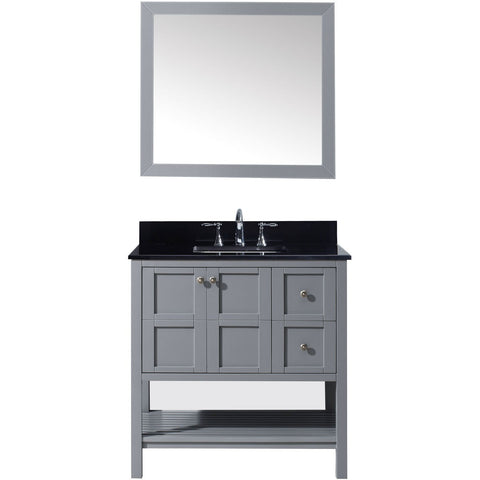 "Virtu USA Winterfell 36"" Gray Single Bathroom Vanity Set with Granite Top - ES-30036-BGSQ-GR - Bath Vanity Plus"