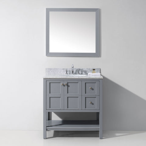 "Virtu USA Winterfell 36"" Gray Single Bathroom Vanity Set with Marble Top - ES-30036-WM-GR - Bath Vanity Plus"