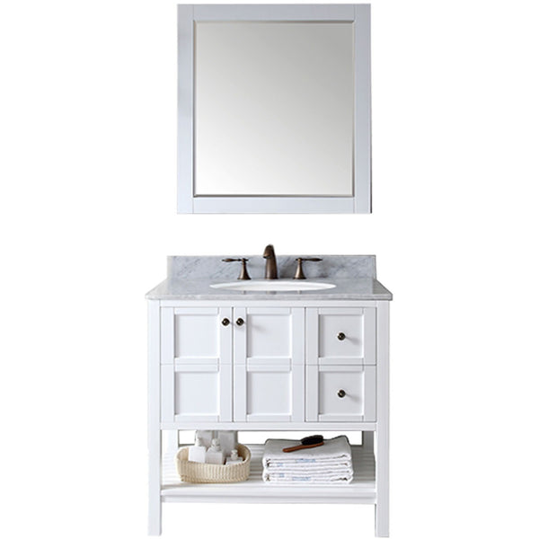 "Virtu USA Winterfell 36"" White Single Bathroom Vanity Set with Marble Top - ES-30036-WM-WH - Bath Vanity Plus"
