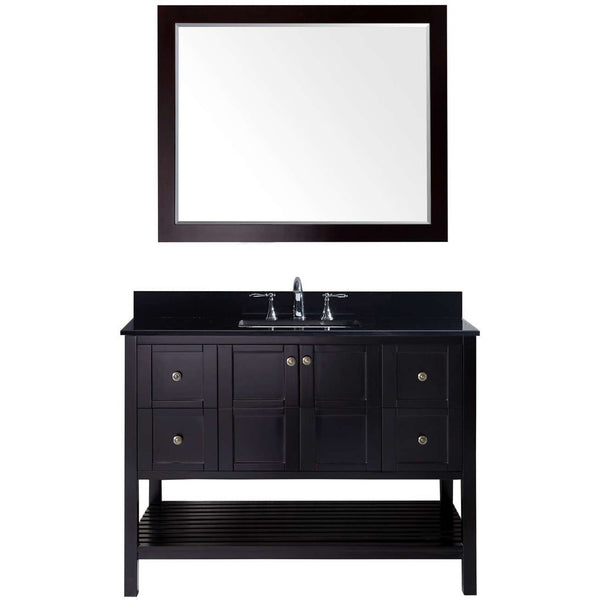 "Virtu USA Winterfell 48"" Espresso Single Bathroom Vanity Set with Granite Top - ES-30048-BGSQ-ES - Bath Vanity Plus"
